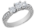 Bild von Vintage Style Three Stone Diamond Engagement Ring